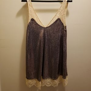Intimately Free People Lilac Sequin and Lace Tank Top New With Tags Size XS
